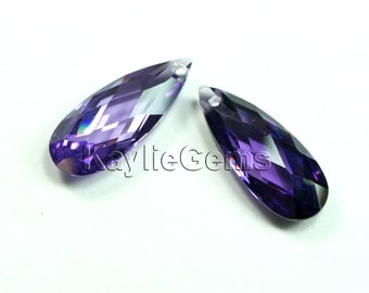 20x8x5mm Cubic Zirconia AAA CZ Faceted Flat Briolette Tear Drop - Amethyst- 1pc