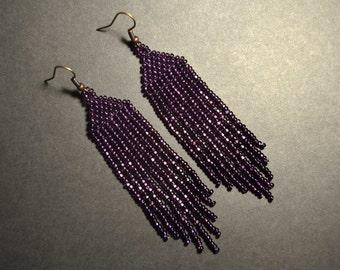 Long dangle seed bead earrings Beaded earrings