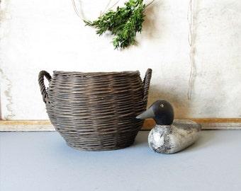 Vintage handwoven basket, rustic gathering basket, farmhouse decor, country decor basket, flower display