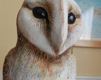 stoneware barn owl sculpture statue