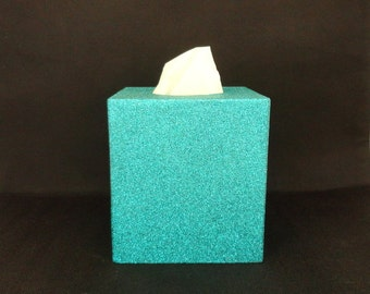 Teal Green Glittered Wood Tissue Box Cover