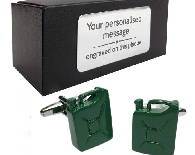 Army jerry fuel can themed novelty CUFFLINKS gift, presentation box PERSONALISED ENGRAVED plate - 482