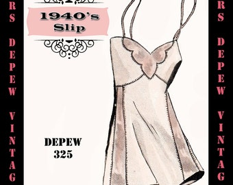 Vintage Sewing Pattern 1940's French Slip with Contrast Design in Any Size- PLUS Size Included- Depew 325 -INSTANT DOWNLOAD-
