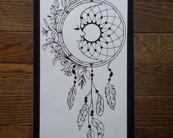 Moon Dream Catcher Feathers Vinyl Decal Dreamcatcher Mandala Decal Native American Mystical Boho Zen Hippie Car Decal Wall Decal Laptop