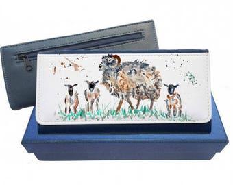 Sheep purse, navy purse, pink purse, black purse, sheep ladies purse, large purse, animal purse, stylish purse, sheep, sheep gift