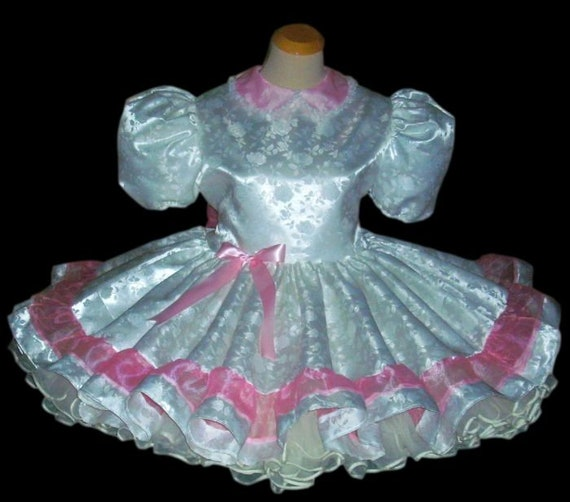 Satin Dress Sissy Unisex Dress Baby Lolita Dress Sissy Made Dress dress Roses Dress Crossdresser Custom Adult Adult White ABDL qRwdCUCx