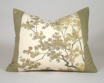 """Autumn Leaves Vintage Japanese Kimono Pillow Cover in Cream, Gold, Rust and Brown (16 x 20"""")"""
