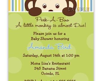 Peek-A-Boo Monkey Baby Shower for Boy or Girl Or Birthday Invitation (Digital File)