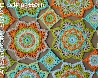 Crochet pattern baby blanket STAR by ATERGcrochet