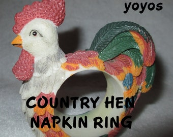 COUNTRY HENS, Napkin Rings,  Set of Four,  Country Decor, Cottage Decor,  Farm Decor, Home Decor, Kitchen Décor,  Gift Item,  Hostess Gift