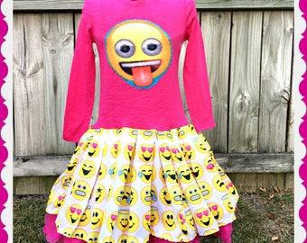 emoji dress girls emoji 2T 3T 4T 5T 4/5 6/6X 7/8 10/12 and 14/16 ready to ship