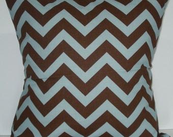 New 18x18 inch Designer Handmade Pillow Case in blue and brown zig zag chevron pattern.