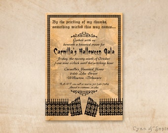 Printable Halloween Party Invitation - 5x7 - Haunted House Gate - Gothic Creepy Black Orange Old Vintage