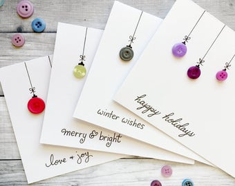 Set of 4 Holiday Baubles Cards/ Unique Holiday Card/ Cute Christmas Card/ Xmas Card/ Modern Christmas Card/ Button Cards/ Christmas Box Set
