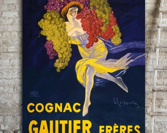 OVERSIZED Canvas Art, Vintage Cognac Poster, Big Wall Art, Vintage French Posters, Art Deco Prints, Food & Drink Artwork, Classic Poster.