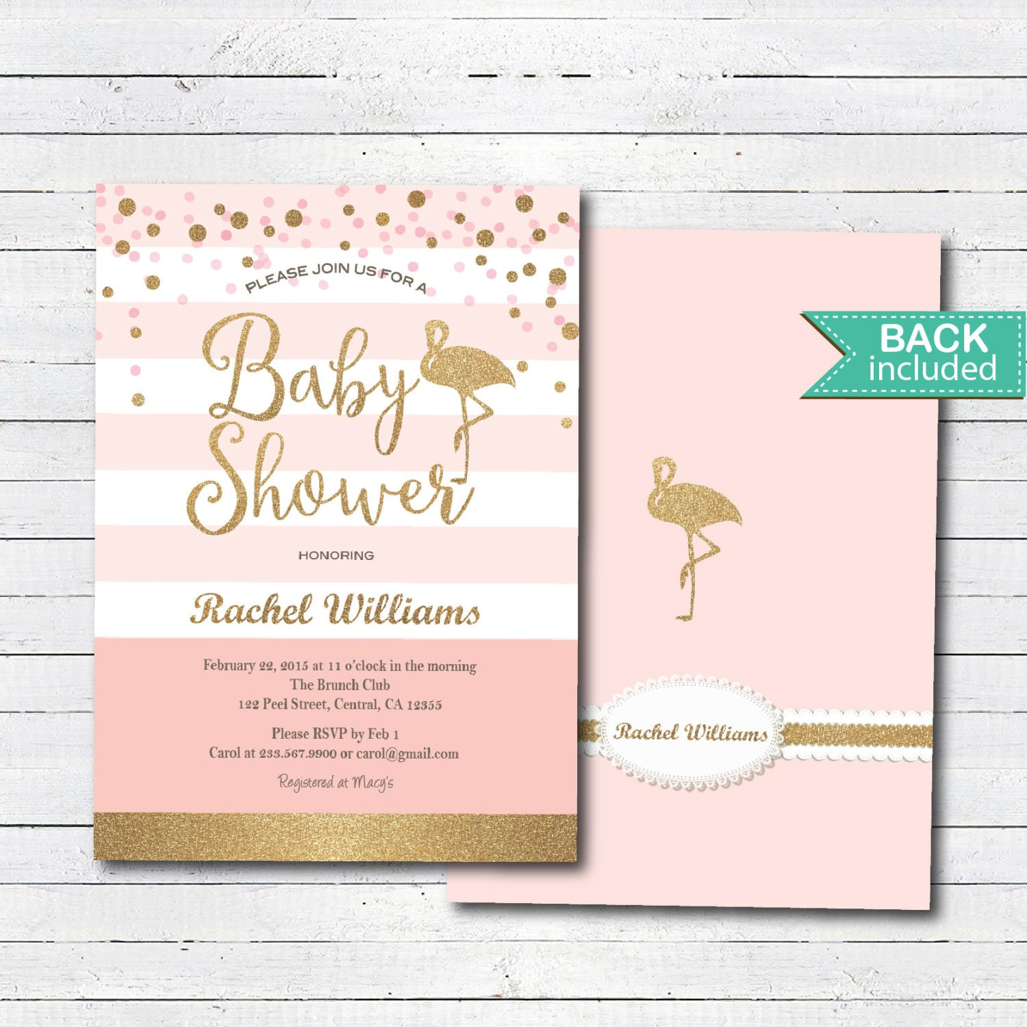 Pink and gold baby shower invitation. Flamingo baby shower