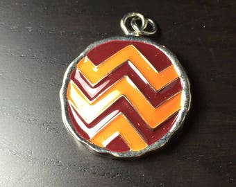 Maroon and Orange Round Chevron Pendant