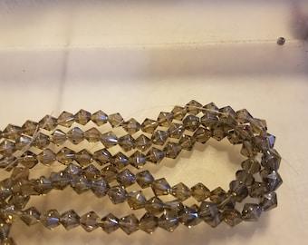6mm AB bicone glass beads
