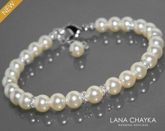 Pearl Bridal Bracelet, Swarovski Ivory Pearl Wedding Bracelet, Ivory Pearl Bridal Jewelry, Bridal Bridesmaid Jewelry, One Row Pearl Bracelet