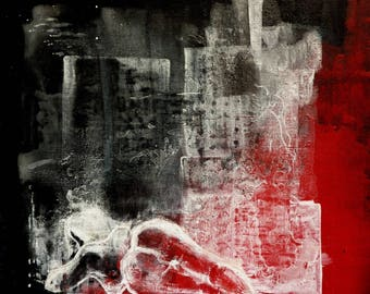 When the city sleeps - night urban - acrylic painting on canvas square format 30 X 30 cm - Naked City