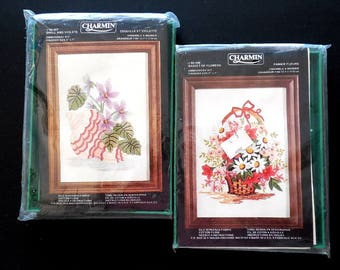 Vintage Charmin Crewel Embroidery Kits with Frames (2),  NOS Flower Embroidery, Vintage Needlework