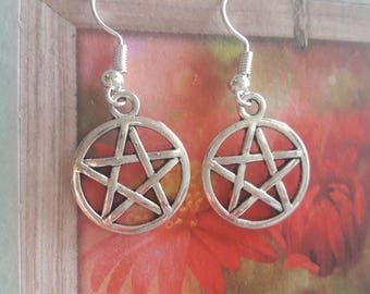 A pretty pair of pentacle earrings, magic, protection