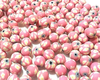 20 Fimo Polymer Clay Round Beads red yellow flower beads 12mm