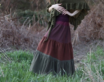 Colorful Woodland Fairy Maxi Skirt 100% Hand-dyed Cotton with Lace Trim