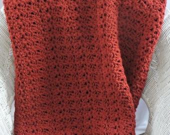 Throw Blanket, Crochet Red Blanket, Couch Throw, Chunky Blanket, Crochet Afghan