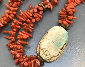 Vintage Egyptian Revival Necklace . Branch Coral . Carved Scarab . Art Deco Jewelry