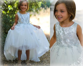 Girl Silver White Premium Flower Lace Tulle Hi-Low Dress Gown, Pageant Wedding Party