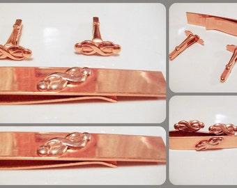 Vintage Gold Cuff Links Tie Clip Set with Swirl Design
