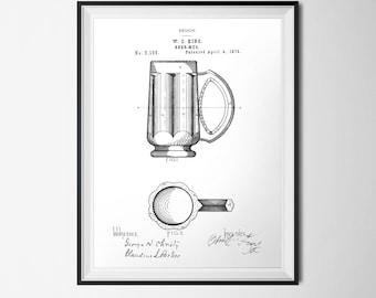 Beer Mug Patent Print, Bar Art, INSTANT DOWNLOAD, Beer Printable, Men's Gift, Vintage Kitchen Print, 18x24 Poster Black White Man Cave Print