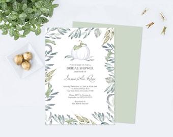 Edit Now FALL BRIDAL SHOWER Invitation, Pumpkin, Boho, Edit Yourself, Watercolor White Pumpkin Invitation, Wedding Shower, Instant Download