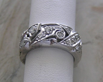 Diamond Wedding Ring Band Vintage Mid Century 14K White Gold