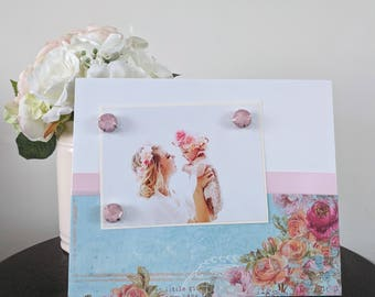 Shabby Chic Roses V2 - Grandmother Mom Little Girl Handmade Gift Present Home Decor Magnetic Picture Frame Size 9 x 11 Holds 5 x 7 Photo
