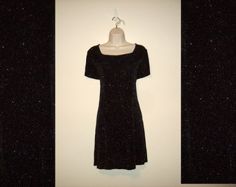 Vintage 1990s Black Sparkle Dress, Size Large