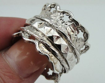 Fine Israeli Massive wide 925 Silver Swivel band Ring Size 8, Ready to ship (DR 1208)
