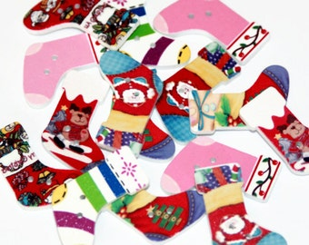 10 Wooden Christmas Stockings Shaped Buttons - Painted Xmas Traditional - 29mm x 20mm - Multi Coloured - Mixed Festive Button - PW63