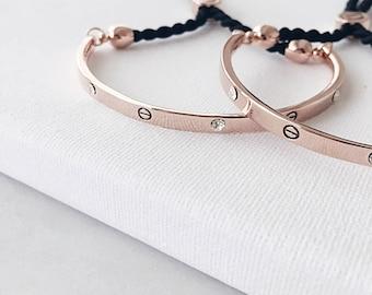 Adjustable Rose gold bangle, Crystal bracelet, Minimal Elegant Open bangle, bridesmaid bracelet, Thin Bangle Bracelet, Gift Gemstone Bangle