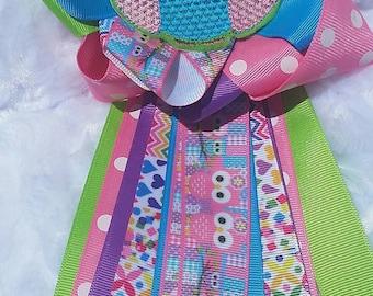 owl  pink blue purple baby shower corsage mum