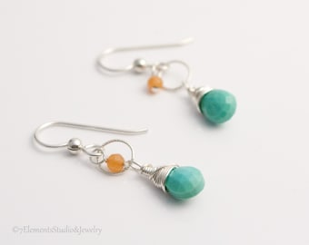 Turquoise, Peach Aventurine and Sterling Silver Earrings, Silver and Turquoise Earrings