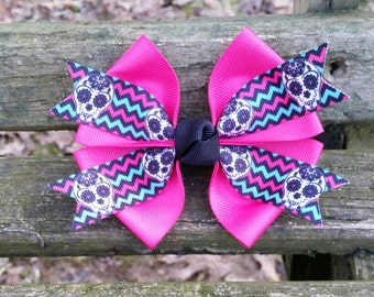 Pink Skull Hair Bow (4 inch)