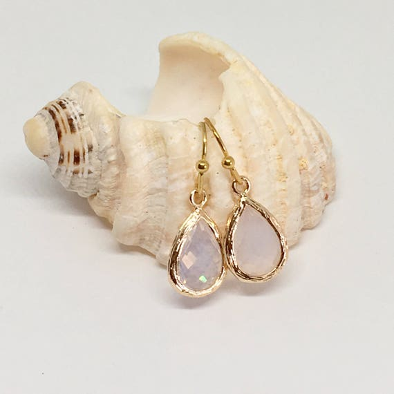 white glass crystal earrings, shabby chic, gift idea
