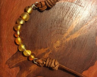 Amber Leather Necklace