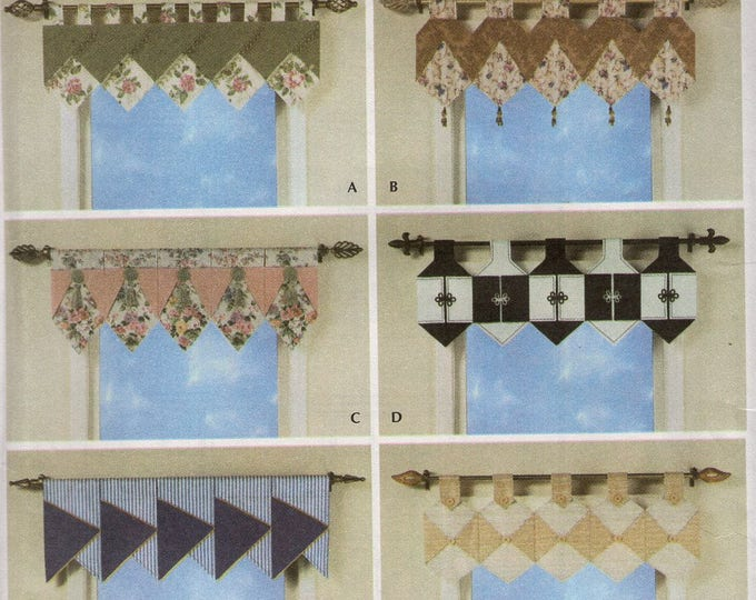 Free Us Ship Simplicity 4973 Sewing Pattern Easy Window Toppers Window Treatments Curtain Valances Repeat Shapes Tab Uncut New 2004