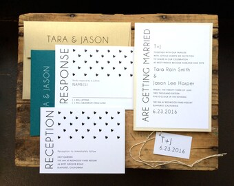 """Modern Wedding Invitations, Gold, Teal, Black, Ivory, Modern Wedding - """"Hearts & Lace""""  - Updated Colors for 2015 - Sample"""