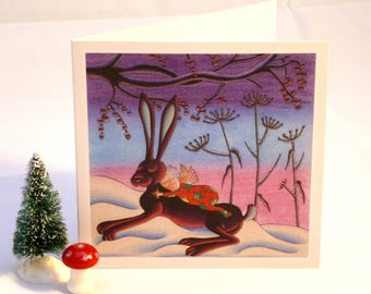 Festive Hare snowy Christmas card matte recycled