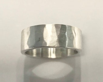 Wide Hammered Texture Solid Silver Ring