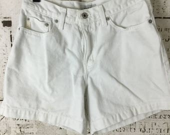 Vintage 1980's Guess Jean Shorts Size 27 High Waist White Made in the USA
